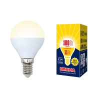Лампа св/д Volpe LED-G45-11W/WW/E14/FR/NR шар матовая 3000K