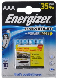 Элемент питания Energizer Maximum AAA LR03 4 шт